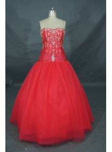 Ball Gown Princess Strapless Long / Floor-Length Taffeta Quinceanera Dress 01353