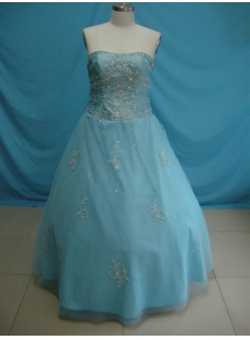 Ball Gown Princess Strapless Long / Floor-Length Taffeta Tulle Plus Size Quinceanera Dress 5410