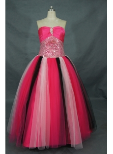 Ball Gown Princess Strapless Long / Floor-Length Taffeta Tulle Quinceanera Dress 01314