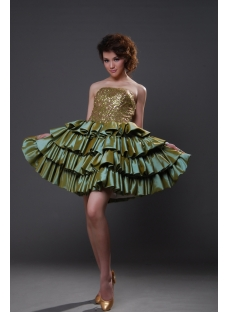 Ball Gown Princess Strapless Short / Mini Taffeta Quinceanera Dress 8808