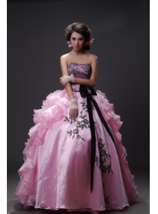 Ball Gown Princess Strapless Sweetheart Long / Floor-Length Satin Organza Quinceanera Dress 2219