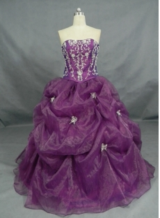 Ball Gown Princess Strapless Sweetheart Long / Floor-Length Satin Organza Quinceanera Dress 2447