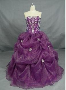 Ball Gown Princess Strapless Sweetheart Long / Floor-Length Satin Organza Quinceanera Dress 2447