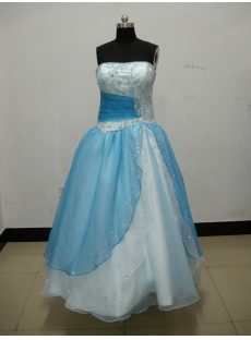 Ball Gown Princess Strapless Sweetheart Long / Floor-Length Satin Organza Quinceanera Dress 3801