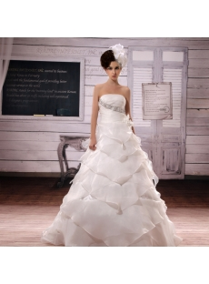Ball-Gown Strapless Chapel Train Organza Satin Wedding Dress With Lace Beadwork