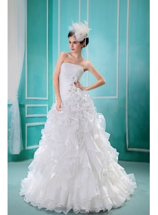 Ball-Gown Strapless Chapel Train Satin Organza Wedding Dress F-121