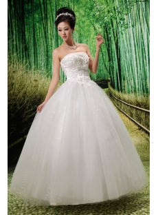 Ball-Gown Strapless Floor-Length Satin Wedding Dress With Ruffle Lace Beadwork Flower(s)