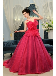 Ball-Gown Strapless Floor-Length Taffeta Organza Quinceanera Dress With Ruffle H-119