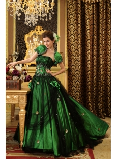 Ball-Gown Strapless Floor-Length Taffeta Tulle Quinceanera Dress With Ruffle Beading H-113