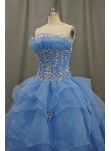 Ball Gown Strapless Pleated Flowers Ruffles Elastic Organza Quinceaneta Dresses 05429