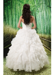 Ball-Gown Sweetheart Chapel Train Organza Satin Wedding Dress With Ruffle Beadwork Sequins