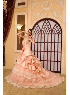 Ball-Gown Sweetheart Chapel Train Taffeta Wedding Dress With Embroidery Ruffle Beadwork H-143
