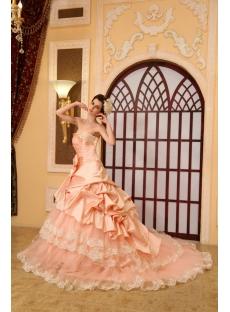 Ball-Gown Sweetheart Chapel Train Taffeta Wedding Dress With Embroidery Ruffle Beadwork H-143
