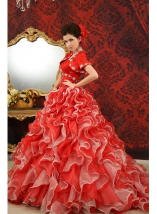 Ball-Gown Sweetheart Floor-Length Organza Quinceanera Dress With Beading  H-128
