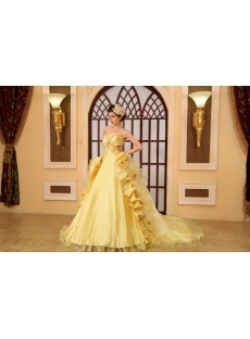 Ball-Gown Sweetheart Floor-Length Organza Quinceanera Dress With Embroidered Ruffle Beading  H-136