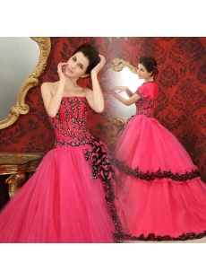 Ball-Gown Sweetheart Floor-Length Organza Quinceanera Dress With Embroidered Ruffle Beading Sequins H-117