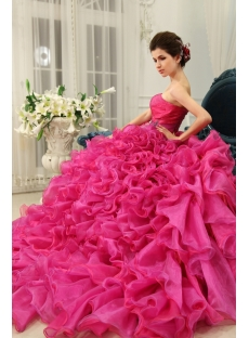Ball-Gown Sweetheart Floor-Length Organza Quinceanera Dress With Ruffle Beading H-118