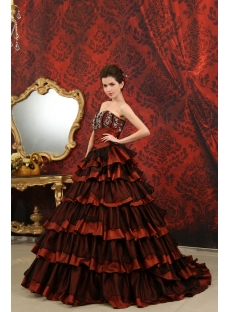 Ball-Gown Sweetheart Floor-Length Organza  Taffeta Quinceanera Dress With Beading H-122