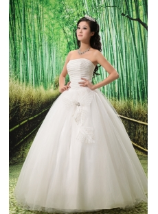 Ball-Gown Sweetheart Floor-Length Satin Tulle Wedding Dress With Ruffle Sashes Beadwork