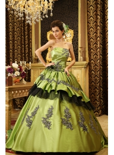 Ball-Gown Sweetheart Floor-Length Taffeta Quinceanera Dress With Ruffle Beading H-115