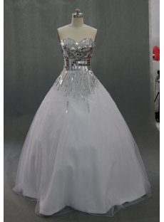 Ball Gown Sweetheart Organza Satin Wedding Dress With Beadwork Sequins 03613