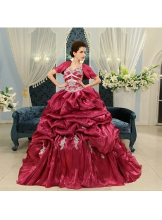 Ball-Gown V-neck Floor-Length Organza Quinceanera Dress With Ruffle Lace Beading Sequins H-134