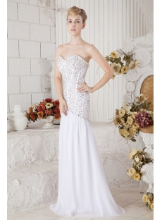 Beaded Casual Sheath Bridal Gowns for Beach