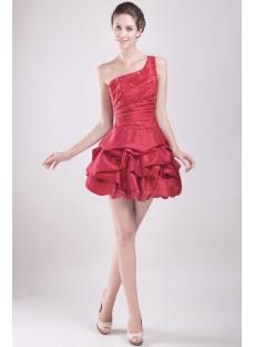 Beautiful One Shoulder Taffeta Puffy Graduation Gown Cheap