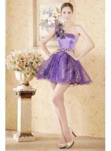 Beautiful Purple One Shoulder Print Short Quince Gown