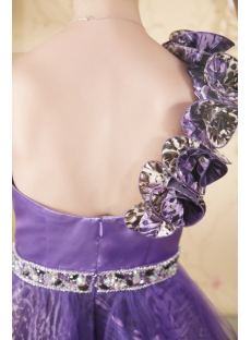 Beautiful Purple One Shoulder Print Short Quince Gown
