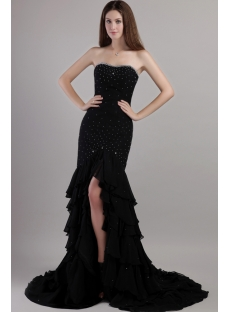 Black Chiffon 2013 Sheath tasteful Evening Dress with Train 2146