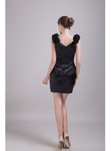 Black Cocktail Homecoming Dress with V-neckline 1347