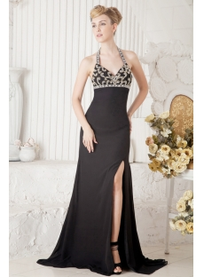 Black Halter Sexy Formal Gown with Slit