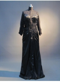 Black Modest 3/4 Long Sleeves Mother of Bride Gown IMG_3516
