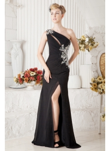 Black One Shoulder Sexy Evening Dress with Slit