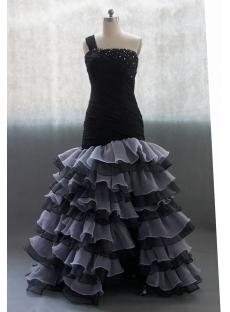 Black Sweetheart Organza Satin Wedding Dress With Ruffle Beadwork 02702