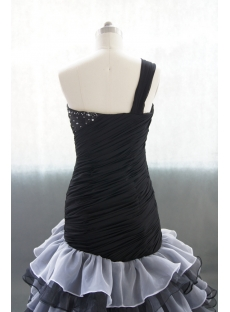Black Sweetheart Organza Satin Wedding Dress With Ruffle Beadwork 02702