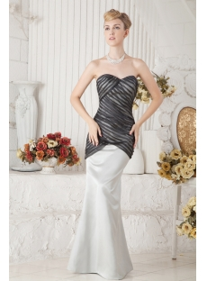 Black and Ivory Sheath Bridesmaid Dress