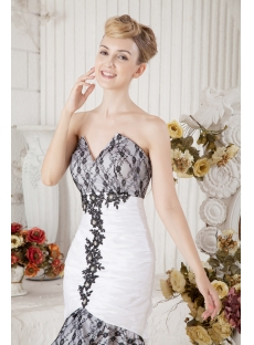 Black and White Short Beach Wedding Dress with High-low Hem