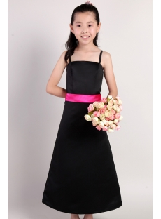 Black with Hot Pink Flower Girl Gown Cheap 2185