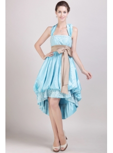 Blue High-low Special Graduation Dress with Halter Neckline
