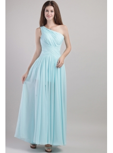 Blue One Shoulder Graduation Gown with Ankle Length 2009