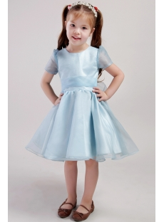 Blue Organza Flower Girl Dress with Short Sleeves 2446