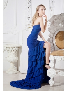 Blue Sweetheart Mermaid Celebrity Dress with Train
