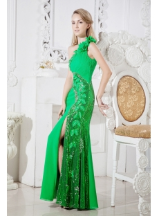 Brilliant Green Evening Dress for Formal Party with One Shoulder