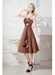 Brown Beach Short Bridesmaid Dress with Spaghetti Straps