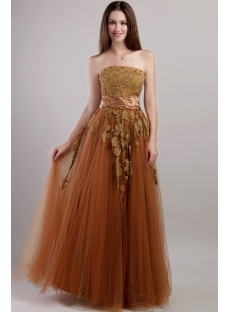 Brown Long Cheap Quinceanera Dress with Corset 2091