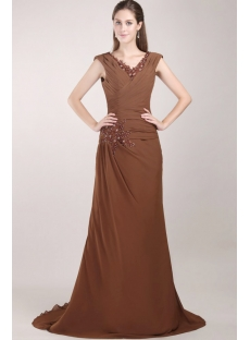 Brown Plus Size Mother of the Bride Gowns with V-neckline