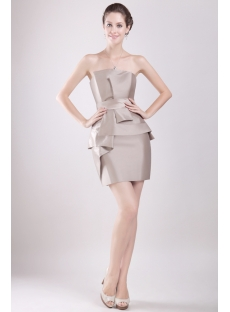Champagne Column Mini Length Formal Evening Gown