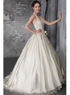 Champagne Halter Garden Bridal Gown with Flowers 2700